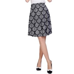 Scales1 Black Marble & Gray Leather (r) A Line Skirt