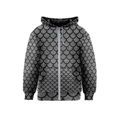 Scales1 Black Marble & Gray Leather (r) Kids  Zipper Hoodie