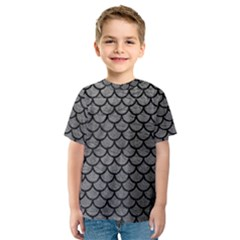 Scales1 Black Marble & Gray Leather (r) Kids  Sport Mesh Tee