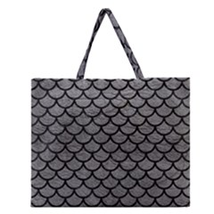 Scales1 Black Marble & Gray Leather (r) Zipper Large Tote Bag