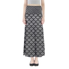 Scales1 Black Marble & Gray Leather (r) Full Length Maxi Skirt