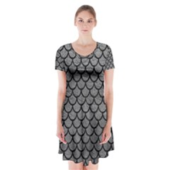Scales1 Black Marble & Gray Leather (r) Short Sleeve V Neck Flare Dress