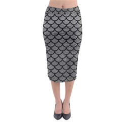 Scales1 Black Marble & Gray Leather (r) Midi Pencil Skirt