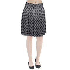 Scales1 Black Marble & Gray Leather (r) Pleated Skirt