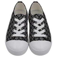 Scales1 Black Marble & Gray Leather (r) Kids  Low Top Canvas Sneakers