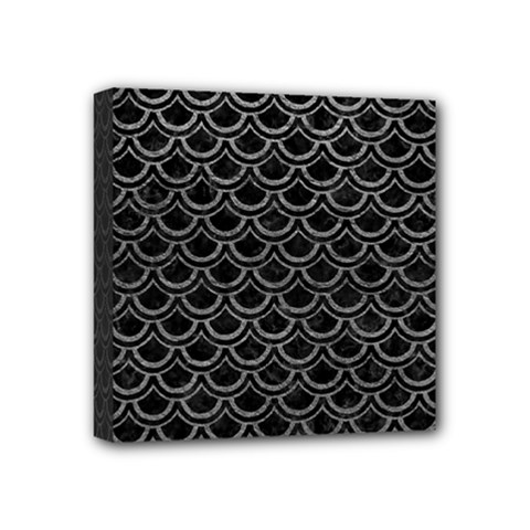 Scales2 Black Marble & Gray Leather Mini Canvas 4  X 4