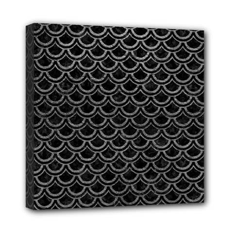 Scales2 Black Marble & Gray Leather Mini Canvas 8  X 8