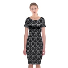 Scales2 Black Marble & Gray Leather Classic Short Sleeve Midi Dress