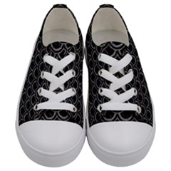 Scales2 Black Marble & Gray Leather Kids  Low Top Canvas Sneakers