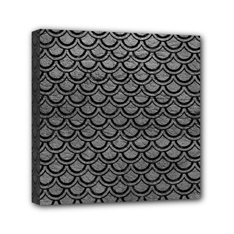 Scales2 Black Marble & Gray Leather (r) Mini Canvas 6  X 6
