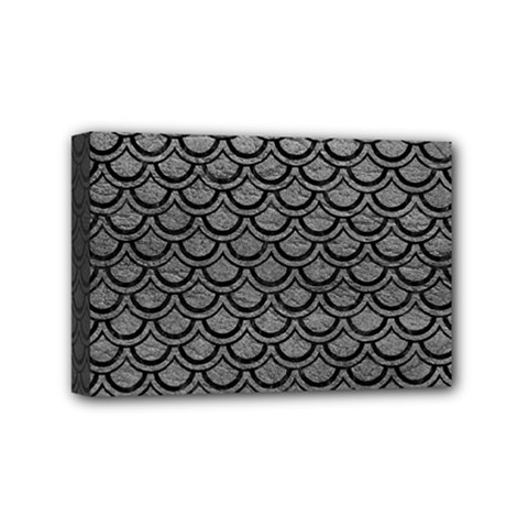 Scales2 Black Marble & Gray Leather (r) Mini Canvas 6  X 4