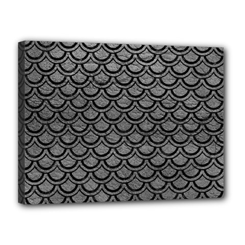 Scales2 Black Marble & Gray Leather (r) Canvas 16  X 12