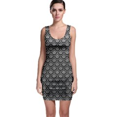Scales2 Black Marble & Gray Leather (r) Bodycon Dress