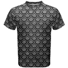 Scales2 Black Marble & Gray Leather (r) Men s Cotton Tee