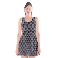 Scales2 Black Marble & Gray Leather (r) Scoop Neck Skater Dress