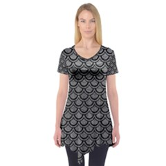 Scales2 Black Marble & Gray Leather (r) Short Sleeve Tunic