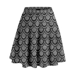 Scales2 Black Marble & Gray Leather (r) High Waist Skirt