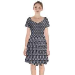 Scales2 Black Marble & Gray Leather (r) Short Sleeve Bardot Dress