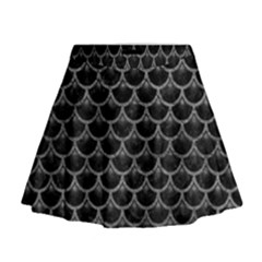 Scales3 Black Marble & Gray Leather Mini Flare Skirt