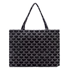Scales3 Black Marble & Gray Leather Medium Tote Bag