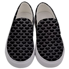 Scales3 Black Marble & Gray Leather Men s Canvas Slip Ons