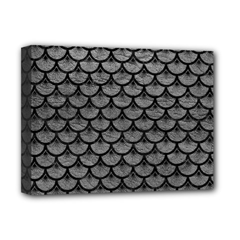 Scales3 Black Marble & Gray Leather (r) Deluxe Canvas 16  X 12