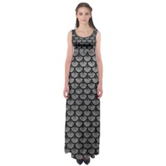 Scales3 Black Marble & Gray Leather (r) Empire Waist Maxi Dress