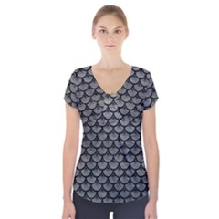 Scales3 Black Marble & Gray Leather (r) Short Sleeve Front Detail Top