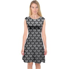 Scales3 Black Marble & Gray Leather (r) Capsleeve Midi Dress