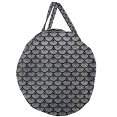 Scales3 Black Marble & Gray Leather (r) Giant Round Zipper Tote