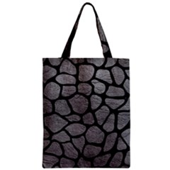 Skin1 Black Marble & Gray Leather Zipper Classic Tote Bag