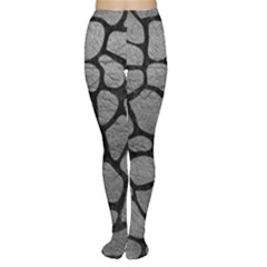 Skin1 Black Marble & Gray Leather Women s Tights