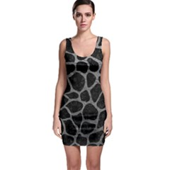 Skin1 Black Marble & Gray Leather (r) Bodycon Dress