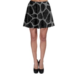 Skin1 Black Marble & Gray Leather (r) Skater Skirt
