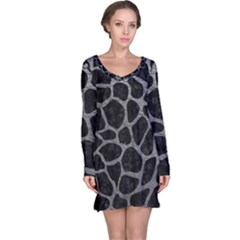 Skin1 Black Marble & Gray Leather (r) Long Sleeve Nightdress