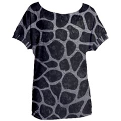 Skin1 Black Marble & Gray Leather (r) Women s Oversized Tee