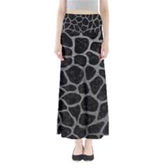 Skin1 Black Marble & Gray Leather (r) Full Length Maxi Skirt