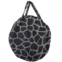 Skin1 Black Marble & Gray Leather (r) Giant Round Zipper Tote