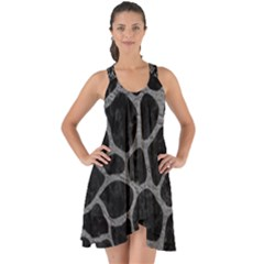 Skin1 Black Marble & Gray Leather (r) Show Some Back Chiffon Dress