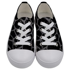 Skin1 Black Marble & Gray Leather (r) Kids  Low Top Canvas Sneakers