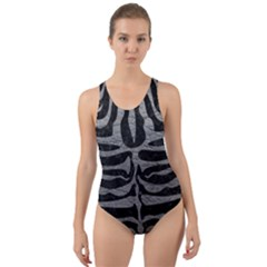 Skin2 Black Marble & Gray Leather Cut Out Back One Piece Swimsuit