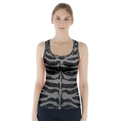 Skin2 Black Marble & Gray Leather Racer Back Sports Top