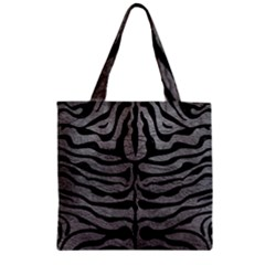 Skin2 Black Marble & Gray Leather (r) Zipper Grocery Tote Bag