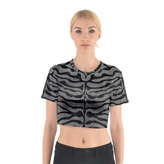 Skin2 Black Marble & Gray Leather (r) Cotton Crop Top
