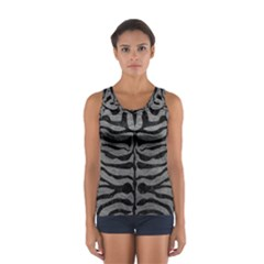 Skin2 Black Marble & Gray Leather (r) Sport Tank Top