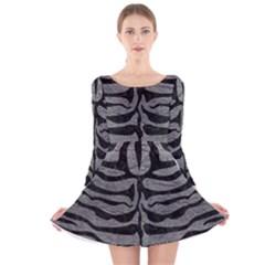 Skin2 Black Marble & Gray Leather (r) Long Sleeve Velvet Skater Dress