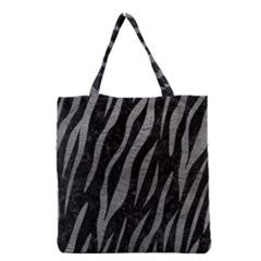 Skin3 Black Marble & Gray Leather Grocery Tote Bag