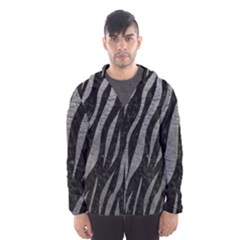 Skin3 Black Marble & Gray Leather Hooded Wind Breaker (men)