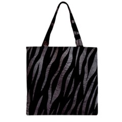 Skin3 Black Marble & Gray Leather Zipper Grocery Tote Bag