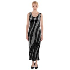 Skin3 Black Marble & Gray Leather Fitted Maxi Dress